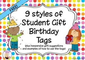 FREE Student Gift Brithday Tags
